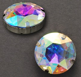 27mm Round Glass faceted Rhinestone with sew-on metal cup by PC, TR-10342