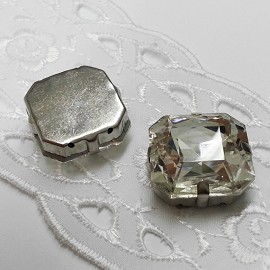 18mm Square Glass faceted Rhinestone with sew-on metal cup by PC, TR-10347