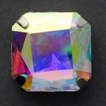 23mm Square Glass faceted Rhinestone with sew-on metal cup by PC, TR-10347