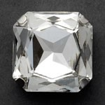 16mm Square Glass faceted Rhinestone with sew-on metal cup by PC, TR-10347