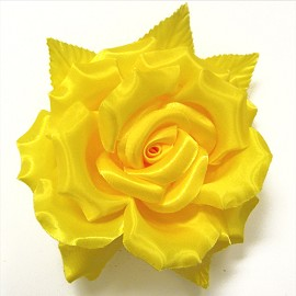 Satin Rose Flower Pin with Leaf by pc, FL-112