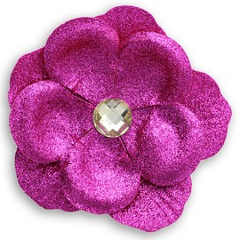 "3-5/8"" Glittering Flower with bead by pc, MAK-MT3R"