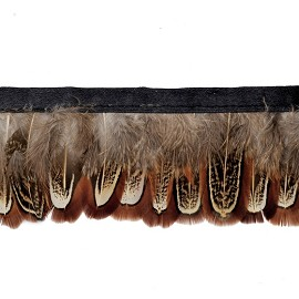 "1-3/4'"" Pheasant Almond Feather Fringe by Yard, TR-10421"