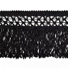 "Knotted Chainette Fringe, 4"" long, Black, SP-2120"
