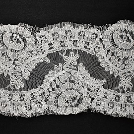 "7"" Beaded Sequin Alencon Embroidery Lace Fabric Trim by YD, ROI-4442"