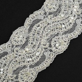 "4"" Beaded Sequin Embroidery Lace Trim by YD, ROI-17001"