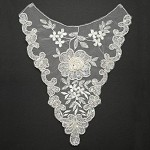 Pearl Beaded Sequin Embroidery Lace Collar Applique by PC, ROI-2261