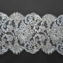"10"" Beaded Sequin Alencon Embroidery Lace Fabric Trim by YD, ROI-44225"