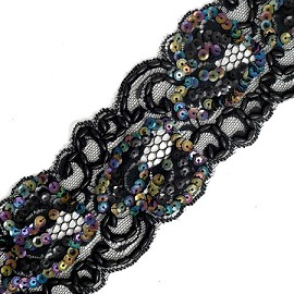 "2-1/2"" Pearl Beaded Sequin Ribbon Lace Trim by YD, ROI-44264"
