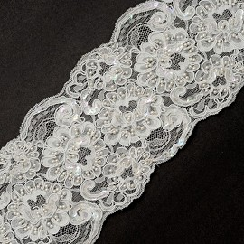 Beaded Sequin Embroidery Ribbon Lace Trim by YD, ROI-44507