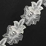 Beaded Sequin Flower Ribbon Lace Trim by 1 Yard, ROI-75100