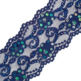 "3-3/4"" Beaded Raschel Stretch Lace by YD, SEE-SL-0323-BD"