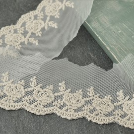 "2-1/2"" NATURAL Embroidered Lace Trim by Yard, TR-10963"