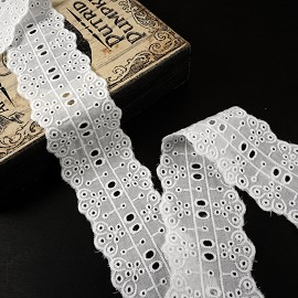 "2"" Cotton Eyelet Lace Trim by Yard, TR-10835"