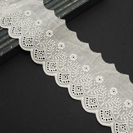 "3-1/8"" Cotton Eyelet Lace Trim by Yard, TR-11545"