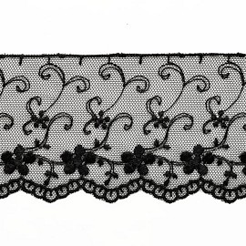 "2-3/4"" Flower Embroidered tulle lace Trim by 1 Yard, STEP-3534"