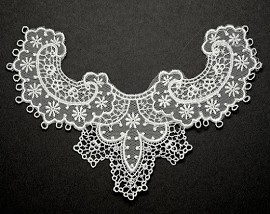 Embroidery Lace Collar Applique, Bridal Applique by PC, ROI-2000