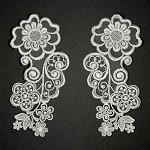 Mirror Pair Embroidery Flower Lace Applique by Set, ROI-3904