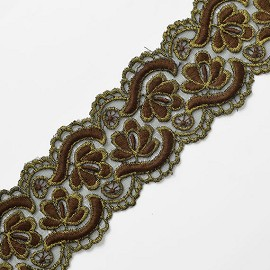 "2-1/4"" Embroidery Lace Trim with Metallic Thread by Yard, SP-2306"