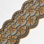 2-1/2 Embroidery Lace Trim with Metallic Thread by Yard, SP-2307