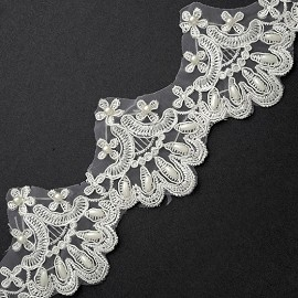 "3"" Pearl Beaded Embroidery Lace Trim by Yard, TR-10909"