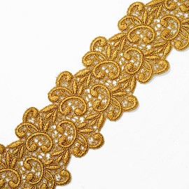 "3"" Metallic Lace Trim by Yard, LP-MX-5073"