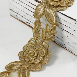 "2-1/2"" Golden Metallic Flower Lace Trim by Yard, SMB-353"