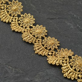 "1-1/4"" Metallic GOLD Lace Trim by YD, LP-MX-454"