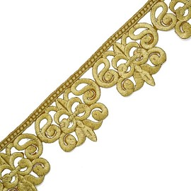"2-5/8"" Metallic Lace Trim with Iron-on Back by YD, SMB-3007"