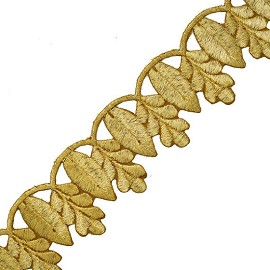 "1-7/8"" Metallic Lace Trim with Iron-on Back by YD, SMB-3008"