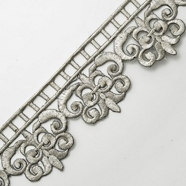 "2-1/2"" Metallic Lace Trim with Iron-on Back by YD, SMB-3011"