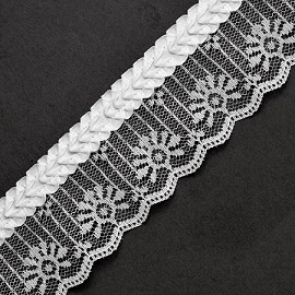 "2"" WHITE Raschel Non-Stretch Lace Trim by YD, ACT-256R"