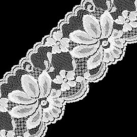 "2-3/4"" WHITE Floral Raschel Non-Stretch Lace Trim by YD, BS-1013"