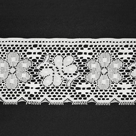 "4"" WHITE Floral Raschel Non-Stretch Lace Trim by YD, ROI-10825"