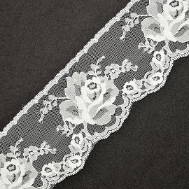 "2-3/4"" Floral Raschel  Non-Stretch Lace Trim by YD, ROI-3522"