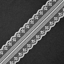 "1-7/8"" WHITE Raschel Non-Stretch Lace Trim by YD, ROI-M3014"
