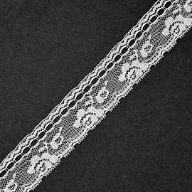 "1-1/8"" WHITE Floral Raschel Non-Stretch Lace Trim by YD, ROI-M3017"