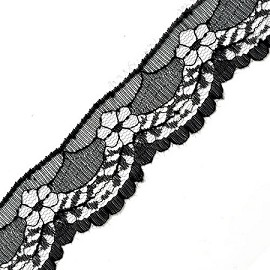 "1-5/8"" BLACK Raschel Non-Stretch Lace Trim by YD, SP-2042"