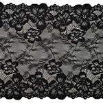 Floral Raschel Elastic Stretch Lace Trim, 8-1/2 Inch by 1 Yard, STEP-9094