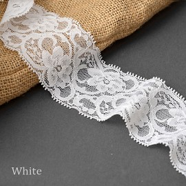 "2-1/8"" Floral Raschel Stretch Lace Trim by Yard, TR-10892"