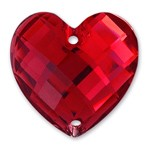 25mm Heart Resin Flatback Sew-on Rhinestone, CT-2330-SO
