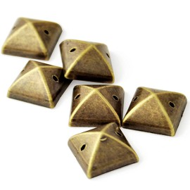 12mm Metal Looking Pyramid Resin Acrylic Sew-on stone with 2 holes by 10 pcs, TR-10313
