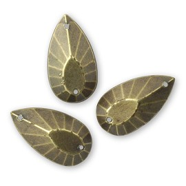 11 x 20mm Antique Fnished Teardrop Acrylic Sew-on stone with 2 holes by 12 pcs
