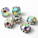 6.5mm Machine Cut Crystal Rhinestone Sew-on Montees by 6 pcs, TR-111746