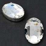 30x20mm Oval Glass faceted Rhinestone with sew-on metal cup by PC, TR-10341