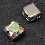 12mm Square Glass faceted Rhinestone with sew-on metal cup by PC, TR-10347