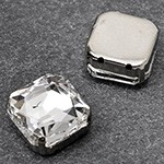 14mm Square Glass faceted Rhinestone with sew-on metal cup by PC, TR-10347