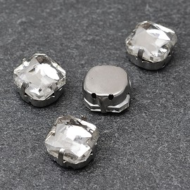 10mm Square Glass faceted Rhinestone with sew-on metal cup by PC, TR-10347