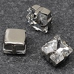 8mm Square Glass faceted Rhinestone with sew-on metal cup by PC, TR-10347