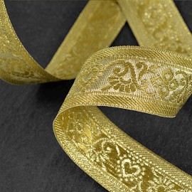 "1-1/2"" Metallic Jacquard Ribbon Trim by yard, SMB-077"